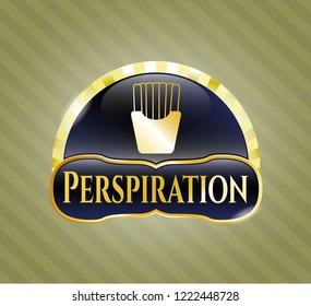 Gold shiny emblem with fries icon and Perspiration text inside