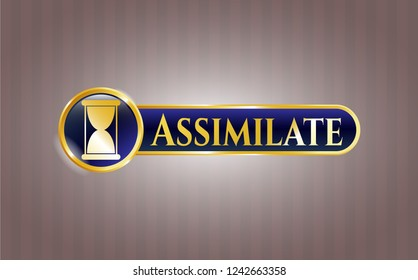 Gold shiny emblem with hourglass icon and Assimilate text inside