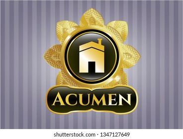 Gold shiny emblem with house icon and Acumen text inside