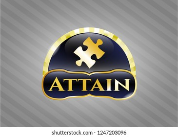 Gold shiny emblem with jigsaw puzzle piece icon and Attain text inside