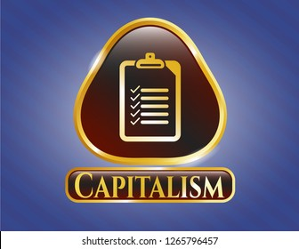 Gold shiny emblem with list icon and Capitalism text inside