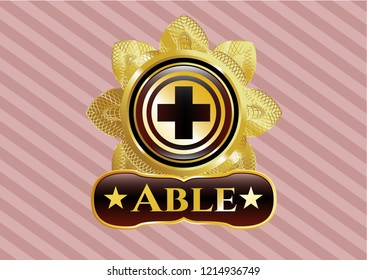 Gold shiny emblem with medicine icon and Able text inside