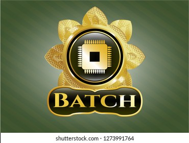 Gold shiny emblem with microchip, microprocessor icon and Batch text inside
