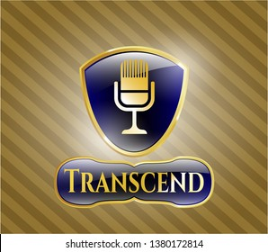 Gold shiny emblem with microphone icon and Transcend text inside