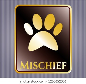Gold shiny emblem with paw icon and Mischief text inside