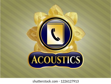 Gold shiny emblem with phonebook icon and Acoustics text inside