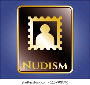 Gold shiny emblem with picture icon and Nudism text inside
