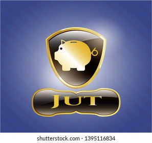 Gold shiny emblem with piggy bank icon and Jut text inside