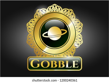 Gold shiny emblem with planet, saturn icon and Gobble text inside