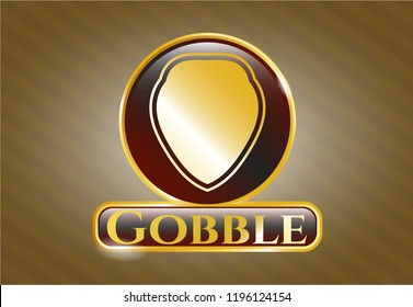 Gold shiny emblem with shield icon and Gobble text inside