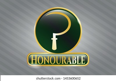 Gold shiny emblem with sickle icon and Honourable text inside