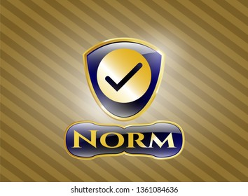 Gold shiny emblem with tick icon and Norm text inside