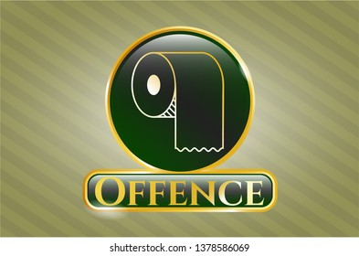 Gold shiny emblem with toilet paper icon and Offence text inside