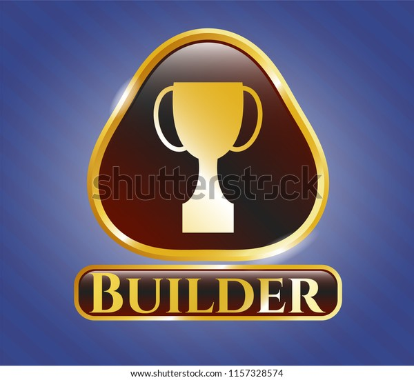 Gold Shiny Emblem Trophy Icon Builder Stock Vector (Royalty