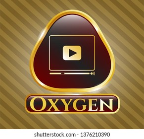Gold shiny emblem with video player icon and Oxygen text inside