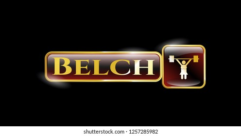 Gold shiny emblem with weightlifter girl icon and Belch text inside