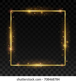 Gold shiny frame on a transparent background. vector illustration