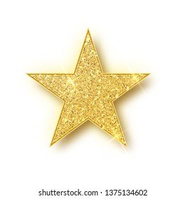 Gold shiny glitter glowing christmas star with shadow isolated on white background. Vector illustration.