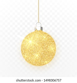 Gold shiny glitter glowing Christmas ball. Xmas glass ball on transparent background. Holiday decoration template. Vector illustration.