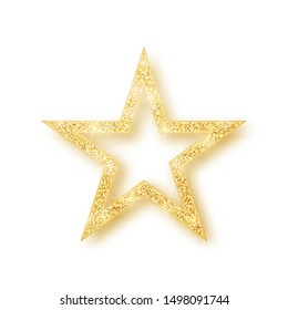 Gold shiny glitter glowing star with shadow isolated on white background. Vector illustration.