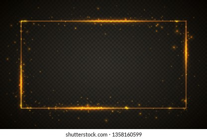 Gold shiny glitter glowing vintage frame with lights effects. Shining rectangle banner on black transparent background. Vector illustration.