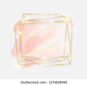 Gold shiny glowing art frame with rose pastel brush strokes isolated on white background. Golden luxury line border for invitation, card, sale, fashion, wedding, photo etc. Vector illustration
