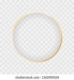 Gold shiny glowing circle frame isolated on transparent background. Luxury realistic golden banner borders with shadow inside. Vector illustration for creative design, advertising, sales