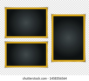 Gold shiny glowing frame with shadows isolated on transparent background. Gold luxury vintage style realistic border, photo, banner. illustration - Vector