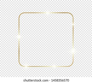 Gold shiny glowing frame with shadows isolated on transparent background. Golden luxury vintage realistic rectangle border. illustration - Vector
