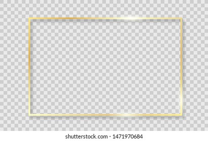 Gold shiny glowing frame with shadows isolated on transparent background. Vector golden realistic rectangle border.