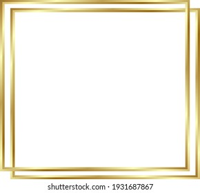 Gold shiny glowing frame with shadows isolated background. Golden luxury vintage realistic rectangle border. illustration - Vector