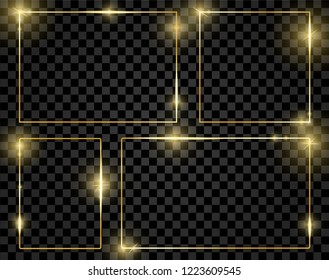 Gold shiny glowing frames set isolated on transparent background. Pack of luxury realistic square borders. Vector illustration