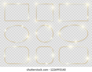Gold shiny glowing frames set with shadows isolated on transparent background. Pack of luxury realistic square, rectangle, round, oval borders. Vector illustration
