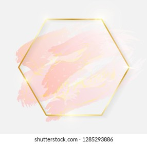 Gold shiny glowing hexagon frame with rose pastel brush strokes isolated on white background. Golden luxury line border for invitation, card, sale, fashion, wedding, photo etc. Vector illustration