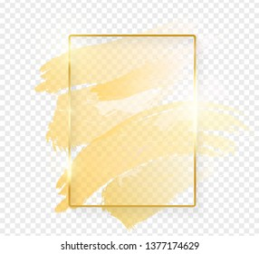 Gold shiny glowing rectangle frame with golden brush strokes isolated on transparent background. Golden luxury line border for invitation, card, sale, fashion, wedding, photo etc. Vector illustration