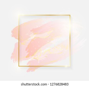 Gold shiny glowing square frame with rose pastel brush strokes isolated on white background. Golden luxury line border for invitation, card, sale, fashion, wedding, photo etc. Vector illustration