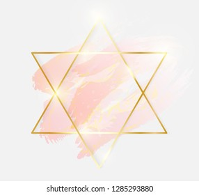 Gold shiny glowing star frame with rose pastel brush strokes isolated on white background. Golden luxury line border for invitation, card, sale, fashion, wedding, photo etc. Vector illustration