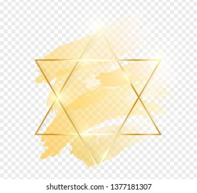 Gold shiny glowing star frame with golden brush strokes isolated on transparent background. Golden luxury line border for invitation, card, sale, fashion, wedding, photo etc. Vector illustration