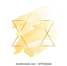 Gold shiny glowing star frame with golden brush strokes isolated on white background. Golden luxury line border for invitation, card, sale, fashion, wedding, photo etc. Vector illustration