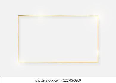 Gold shiny glowing vintage frame with shadows isolated on white background. Golden luxury realistic border. Wedding, mothers or Valentines day concept. Xmas and New Year abstract. Vector illustration