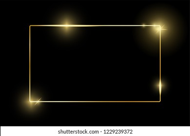 Gold shiny glowing vintage frame isolated on black. Golden luxury realistic border. Wedding, mothers or Valentines day, vintage portrait concept. Xmas and New Year abstract. Vector illustration