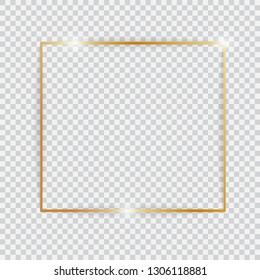 Gold shiny glowing vintage frame. Golden luxury realistic rectangle border with shadows isolated on transparent background. Vector illustration