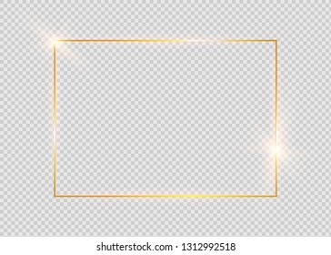 Gold shiny glowing vintage frame with shadows isolated on transparent background. Golden luxury realistic rectangle border.