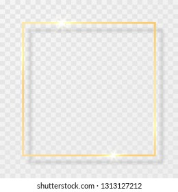 Gold shiny glowing vintage frame with shadows isolated on transparent background. Golden luxury realistic rectangle border. Vector illustration.