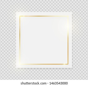 Gold shiny glowing vintage frame on white plate isolated on transparent background. Golden luxury realistic border. Wedding, mothers or Valentines day concept. Xmas and New Year paper abstract. Vector