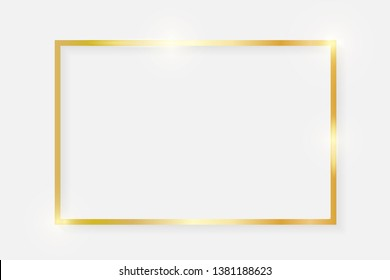 Gold shiny glowing vintage rectangle frame with shadows isolated on white background. Golden luxury realistic rectangle border. Vector illustration