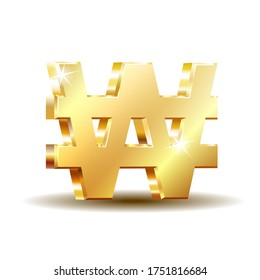 Gold shiny Korean won symbol, currency sign isolated on white background. Vector illustration