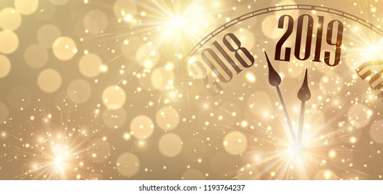 gold shiny new year 2019 poster with creative clock and fireworks vector background