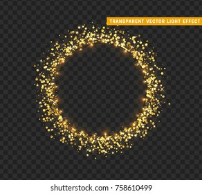 Gold shiny round frame on transparent background. Sparkle golden garlands. Magic light ring. Christmas bright fire glitter. Xmas decoration glowing wreath. Vector illustration isolated realistic