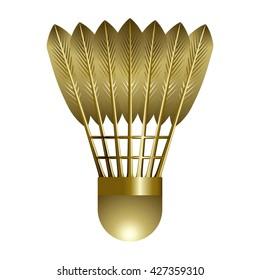 Gold Shuttlecock isolated on white background. Vector illustration.